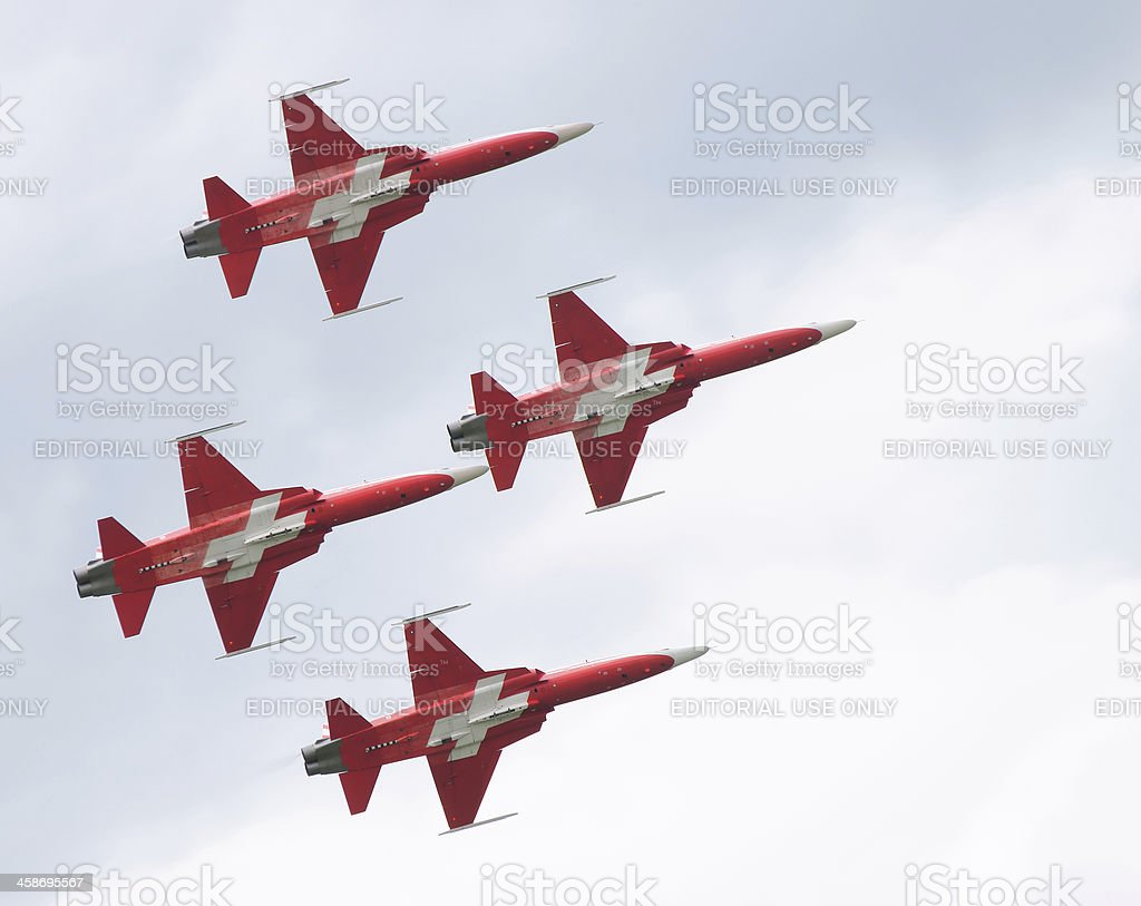 Patrouille Suisse aerobatic team in tight formation stock photo