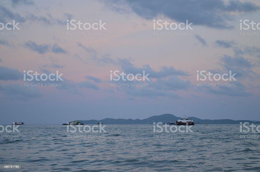 Pattaya Beach at night in Thailand stock photo