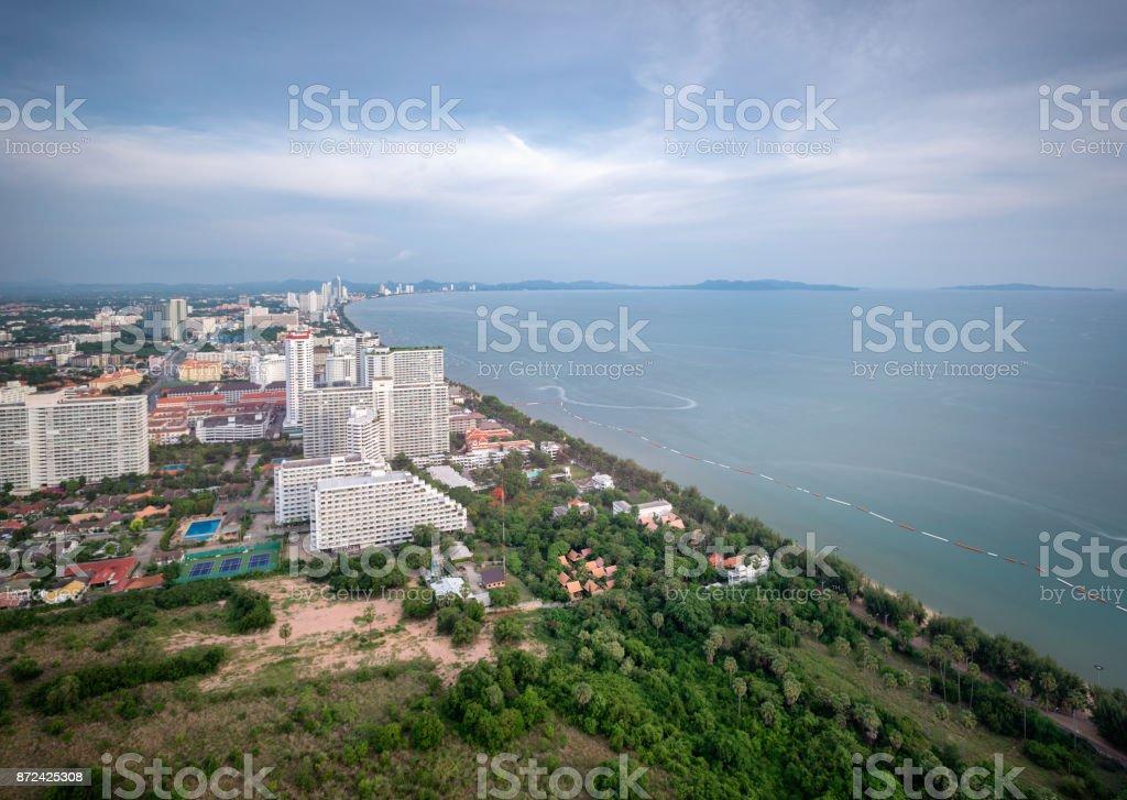 Pattaya City and Sea with blue sky, Thailand. Pattaya city skyline and pier at suset in Pattaya Chonburi Thailand stock photo