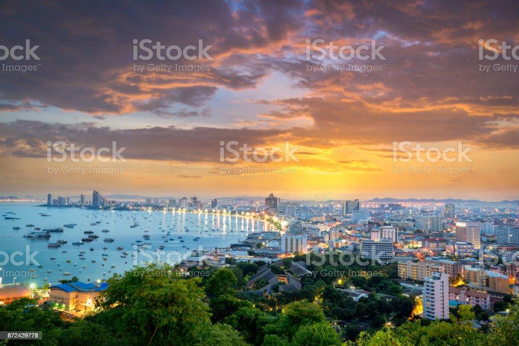 Pattaya City and Sea with suset, Thailand. Pattaya city skyline and pier at sunset in Pattaya Chonburi Thailand stock photo