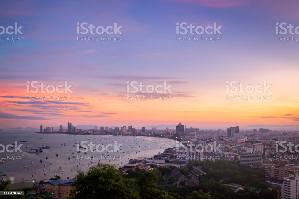 Pattaya City and Sea with suset, Thailand. Pattaya city skyline and pier at suset in Pattaya Chonburi Thailand stock photo