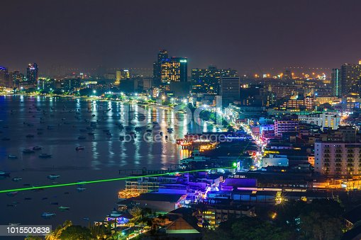Pattaya city and the many boats docking at night, Thailand