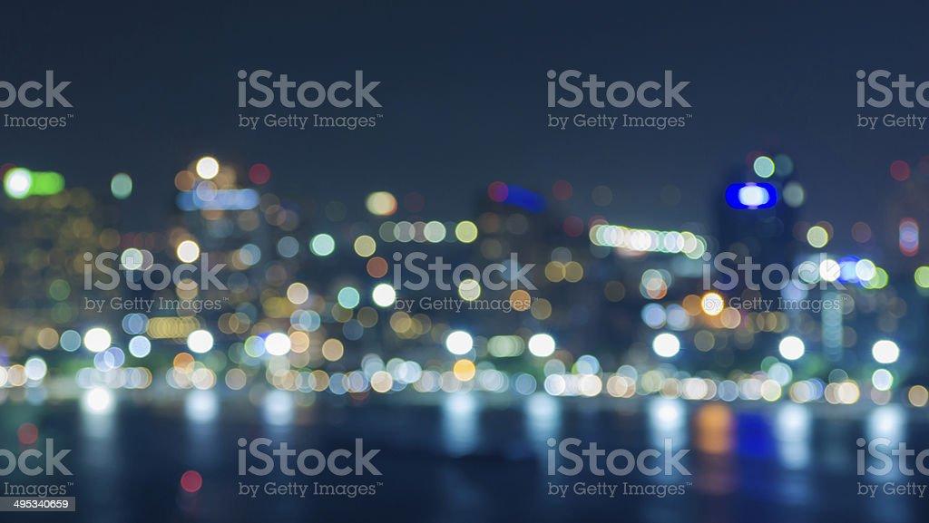 Pattaya cityscape at twilight time, Blurred Photo bokeh stock photo