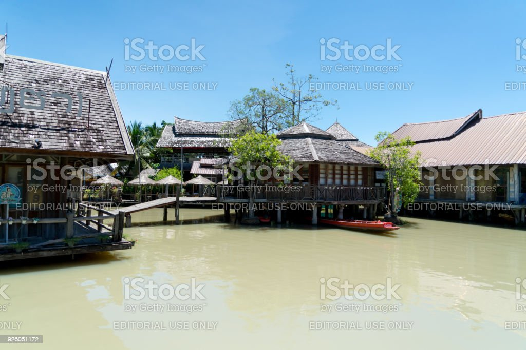 Pattaya floating market, travel and shopping the local four regions food stock photo