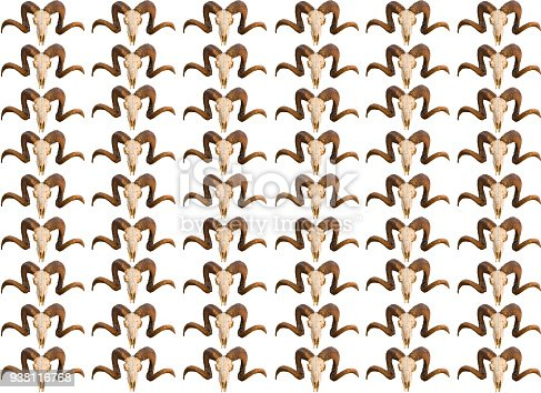 1151385192istockphoto Pattern base skull texture skull with curled horns set of copies isolated 938116768