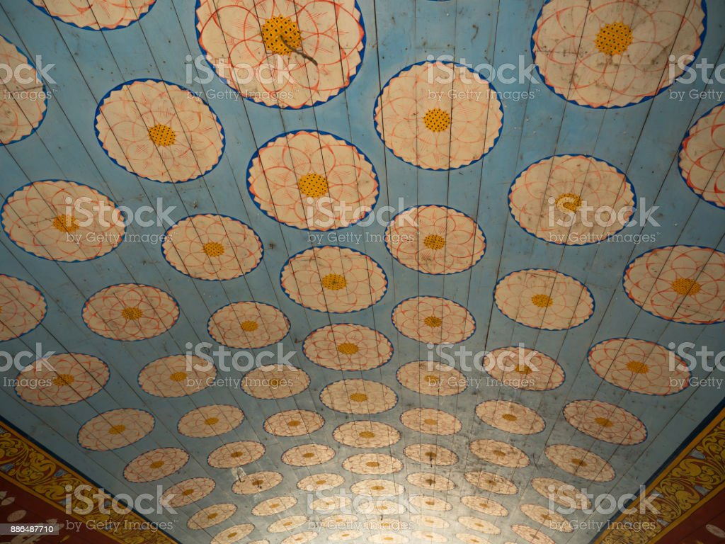 Pattern ceiling in the temple stock photo