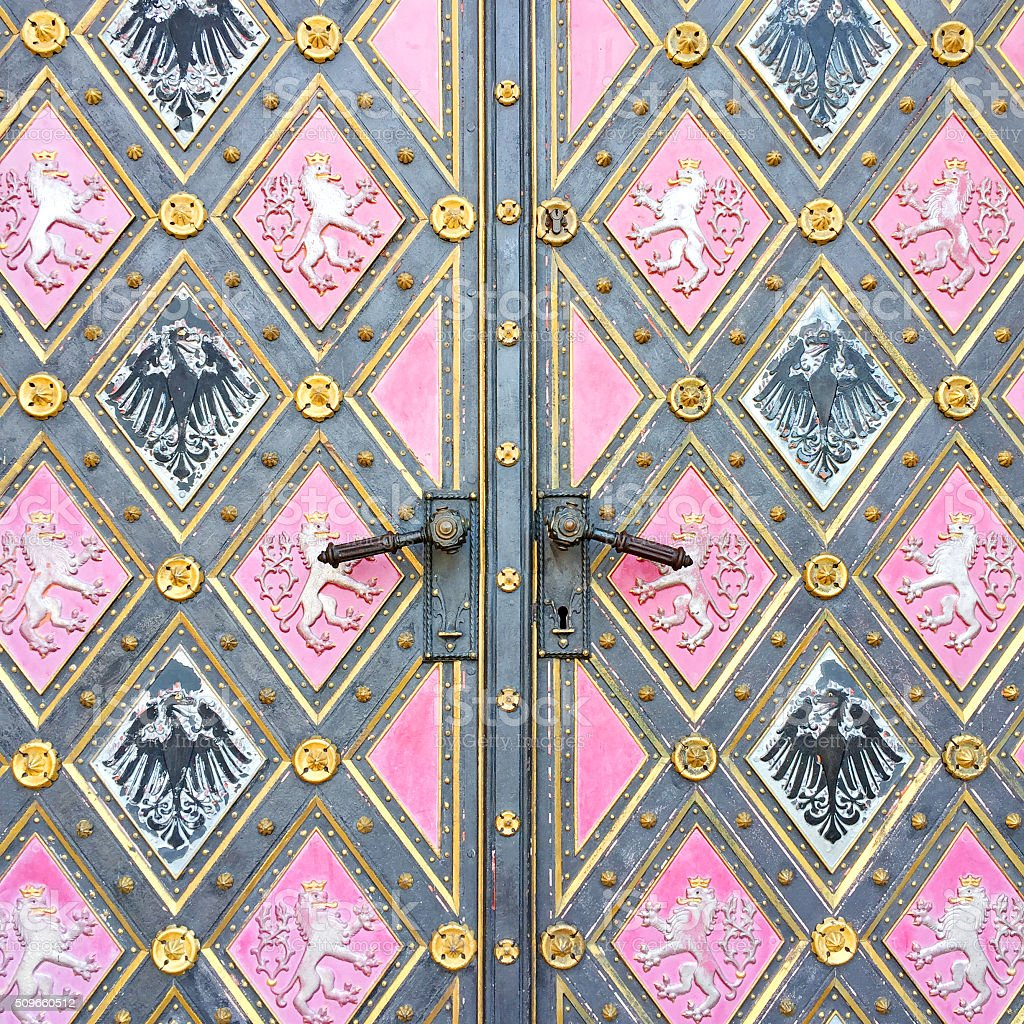 Pattern door of catholic basilica in Prague stock photo