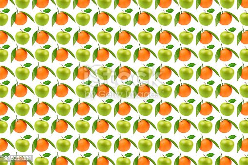 istock Pattern fresh fruits, apples and oranges 925052882