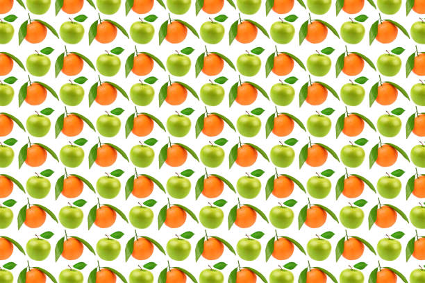 Pattern fresh fruits, apples and oranges stock photo