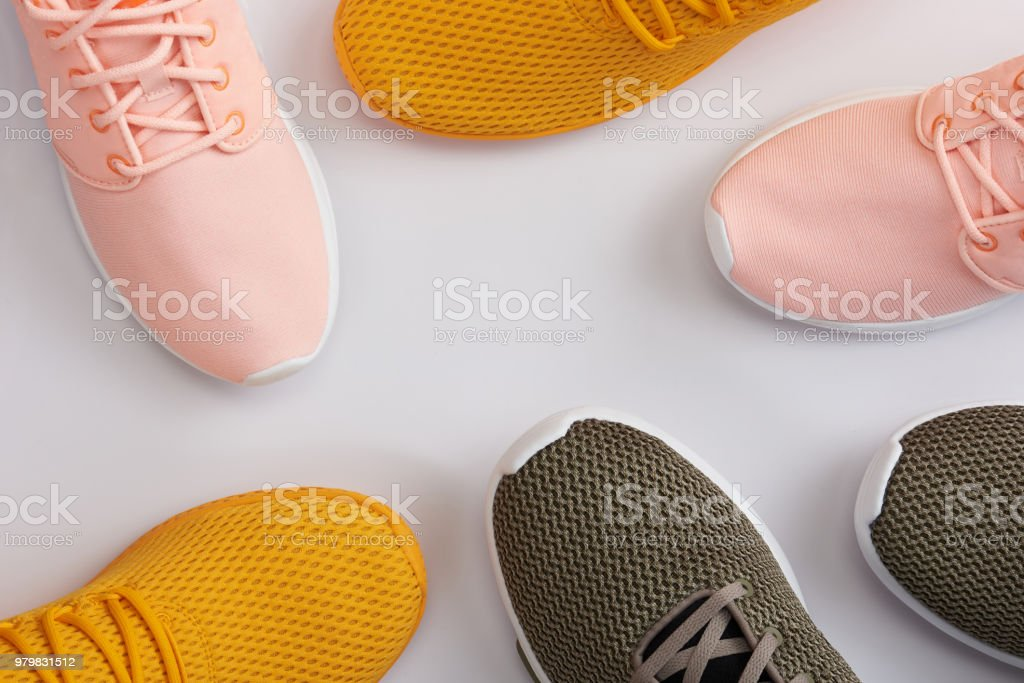 Pattern from colorful sport shoes stock photo