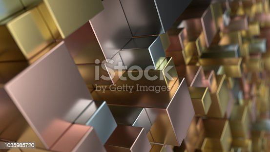 istock Pattern from metal cubes of different sizes 1035985720