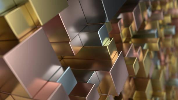 Patrón de los cubos metálicos de diferentes tamaños - foto de stock