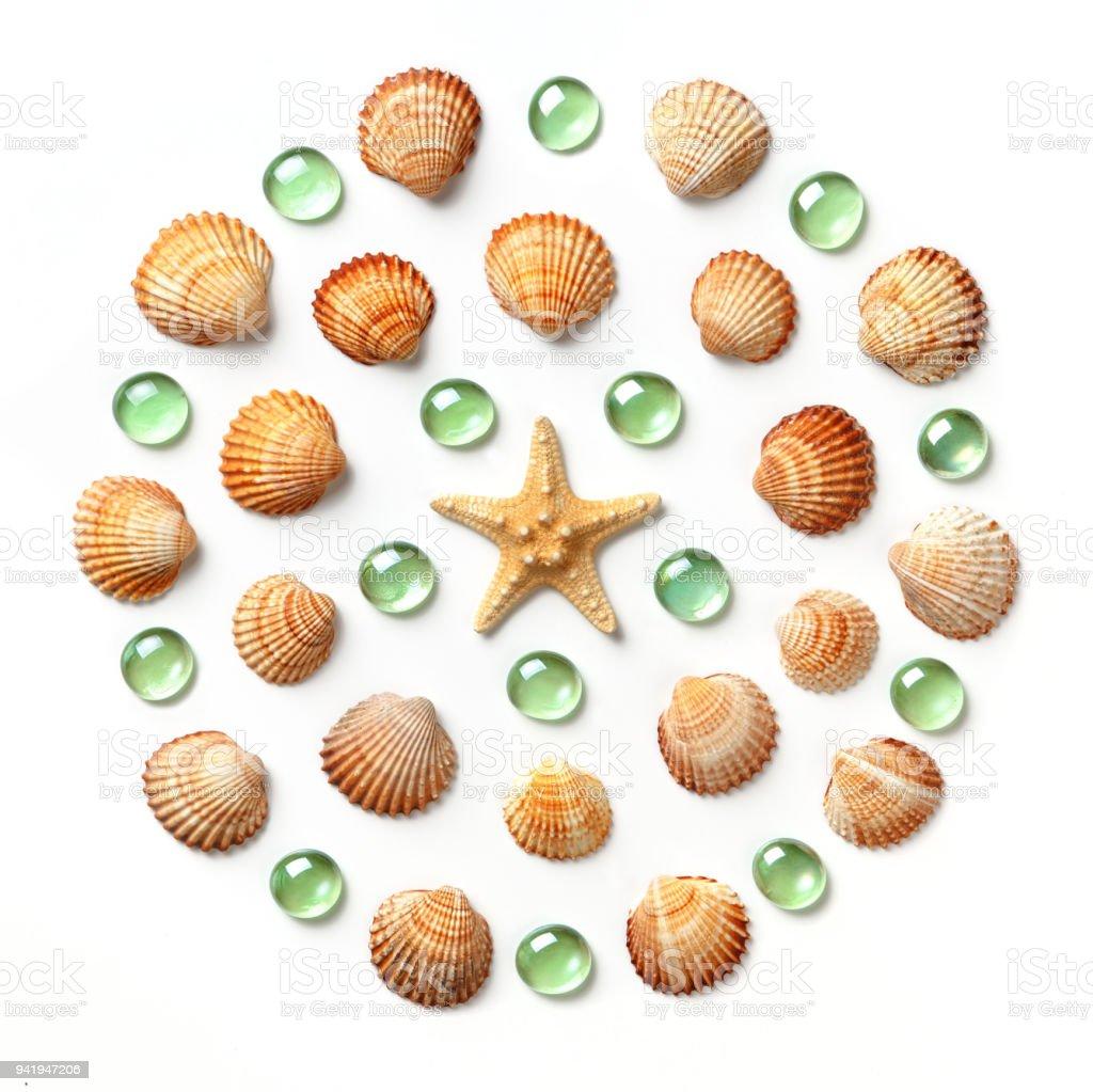 Muster in Form von einem Kreis aus Muscheln, Seesterne und grünem Glasperlen isoliert auf weißem Hintergrund – Foto