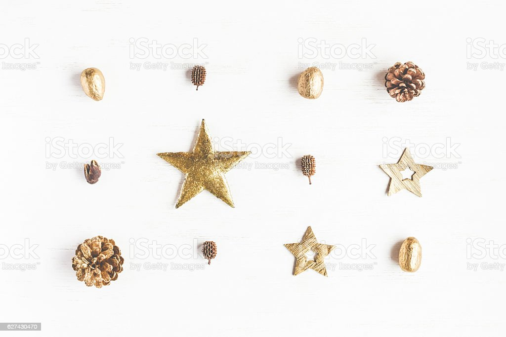 Pattern made of christmas decoration, pine cones. Flat lay stock photo