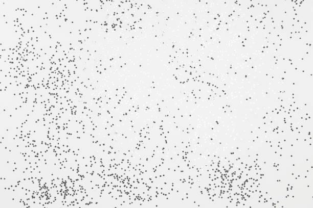 Muster aus silbernen Weihnachtsschmuck. Ansicht von oben flach lag Sternen Ang glitter – Foto