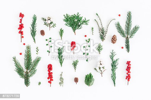 1074095098 istock photo Pattern made of christmas tree branches. Flat lay, top view 873271720