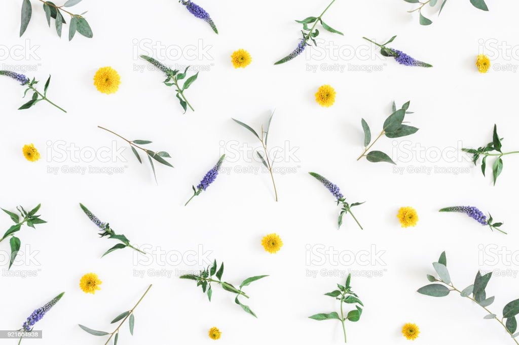 Flowers composition. Pattern made of colorful flowers on white...