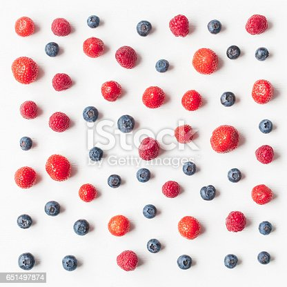 istock Pattern made of fresh strawberry, blueberry, raspberry 651497874