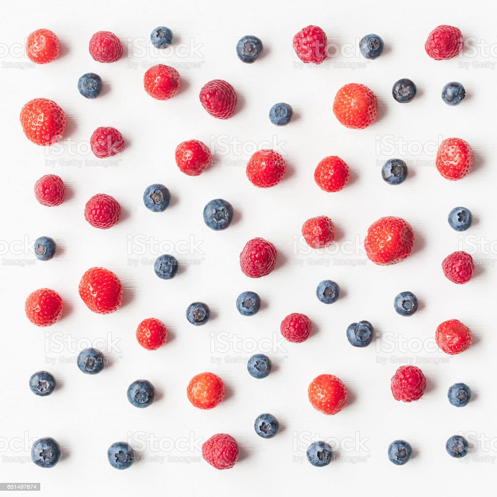 Pattern made of fresh strawberry, blueberry, raspberry stock photo