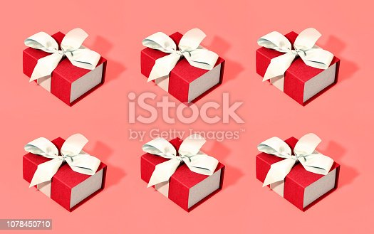 istock Pattern made of gift boxes on trendy background. Color of the year 2019. 1078450710