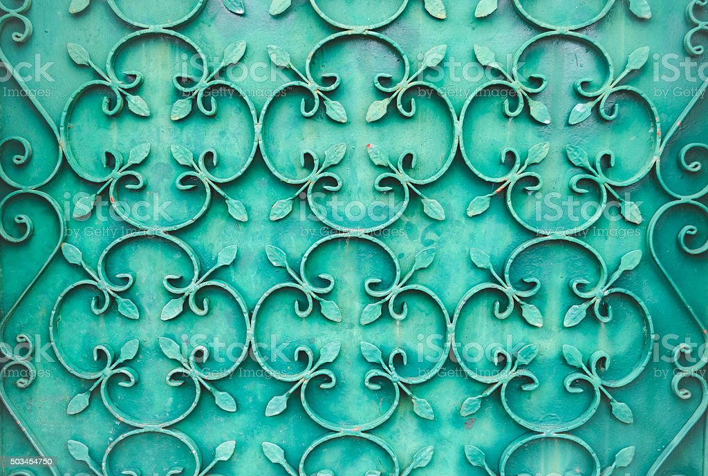 Pattern of a gate made of wrought iron. stock photo