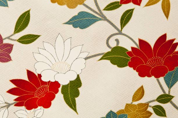 muster eines alten japanischen kimonos - kimono stock-fotos und bilder