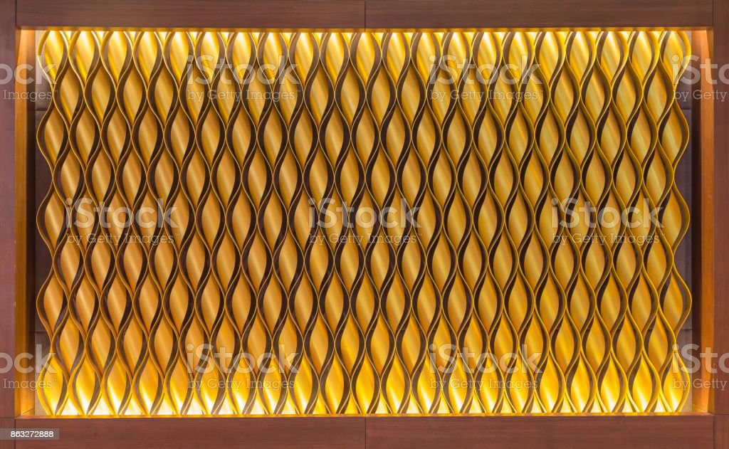pattern of aluminum roll gold colour in wood frame stock photo