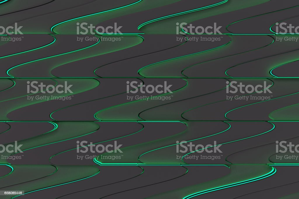 Pattern of black twisted extruded shapes with blue glowing lines royalty-free stock photo