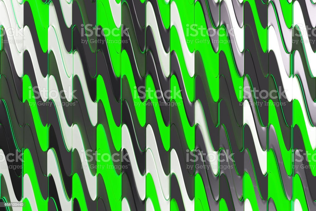 Pattern of black, white and green twisted extruded shapes royalty-free stock photo