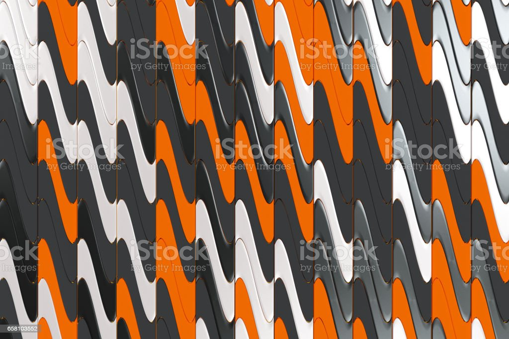 Pattern of black, white and orange twisted extruded shapes royalty-free stock photo