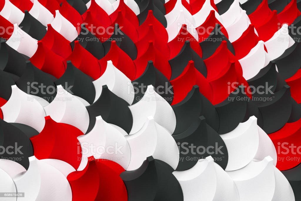 Pattern of black, white and red twisted pyramid shapes royalty-free stock photo