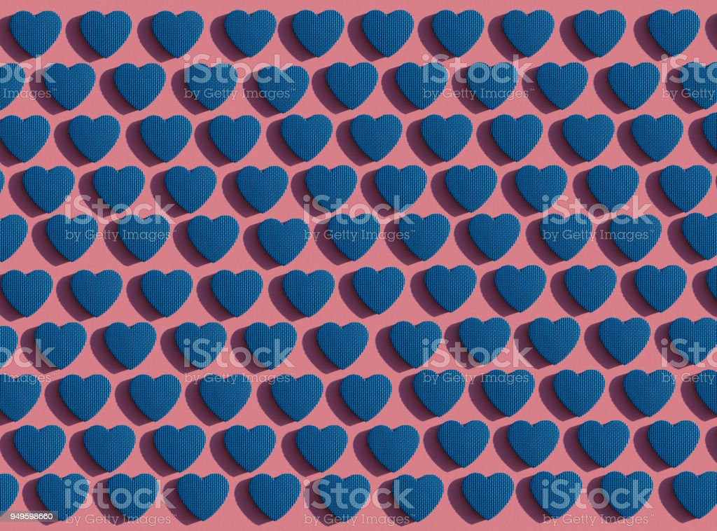 Pattern Of Blue Hearts On A Pink Background A Symbol Of Love