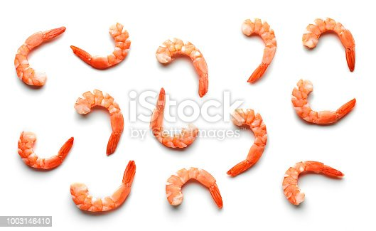 pattern of boiled prawns isolated on white background, top view
