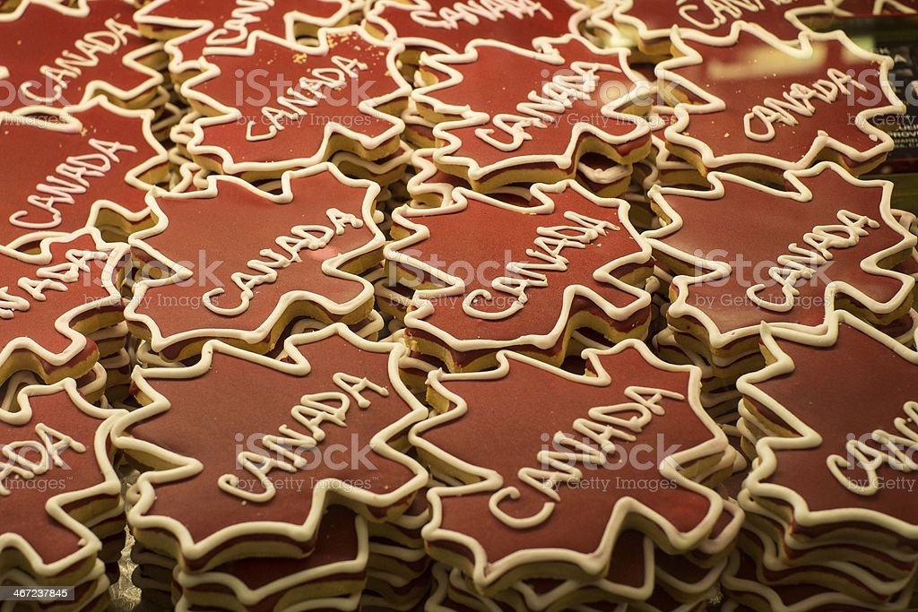 Pattern of Canada cookies stock photo