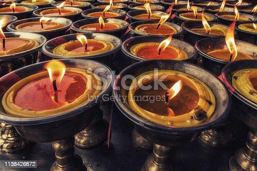Candles at Laojun Pavilion , Summit of Mount Qingcheng