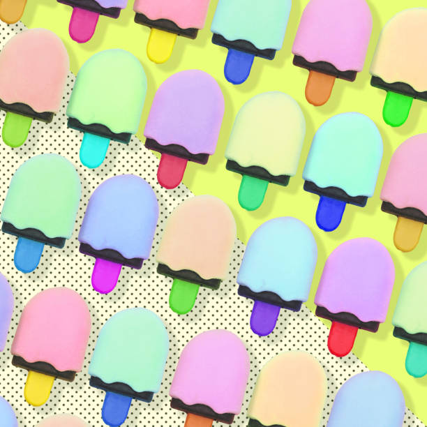 Pattern of colorful ice cream. stock photo