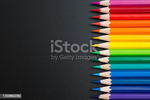 1137970382 istock photo Pattern of Colorful Many colored pencils on a black background and copy space 1253860280