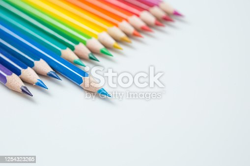1137970382 istock photo Pattern of Colorful Many colored pencils on a white background and copy space 1254323265