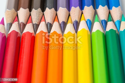 1137970382 istock photo Pattern of Colorful Many colored pencils on a white background and copy space 1254323269