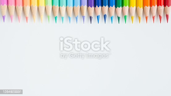 1137970382 istock photo Pattern of Colorful Many colored pencils on a white background and copy space 1254920031