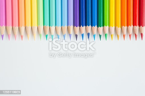 1137970382 istock photo Pattern of Colorful Many colored pencils on a white background and copy space 1255119923