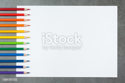 1137970382 istock photo Pattern of Colorful Many colored pencils on a white paper background and copy space 1254701722