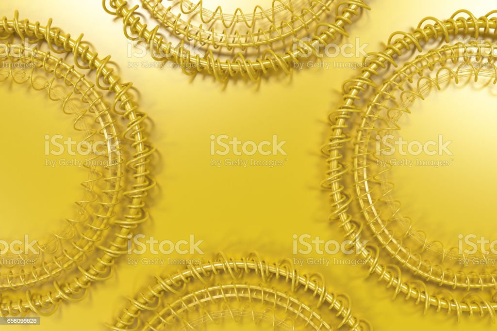 Pattern of concentric shapes made of rings and spirals on yellow background royalty-free stock photo