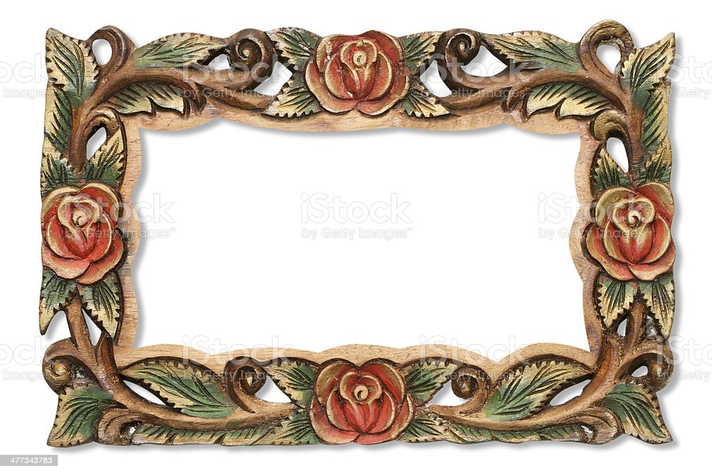 Pattern of flower carved frame on wood stock photo