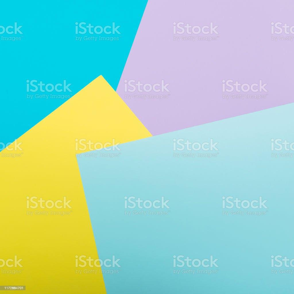 Pattern of geometric yellow, blue and pink background. Minimalism Pattern of geometric yellow, blue and pink background. Minimalism 1980-1989 Stock Photo