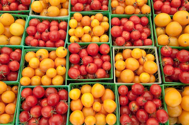 Pattern of Grape Tomatoes stock photo
