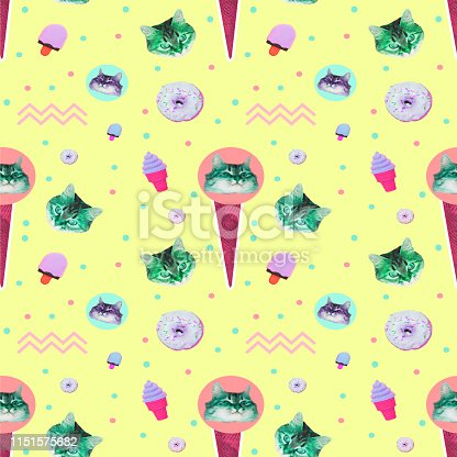 istock Pattern of ice creams, cat heads, donuts and geometry elements on yellow background 1151575682