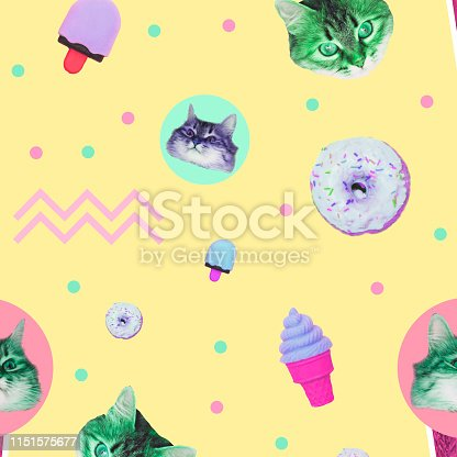 istock Pattern of ice creams, cat heads, donuts and geometry elements 1151575677