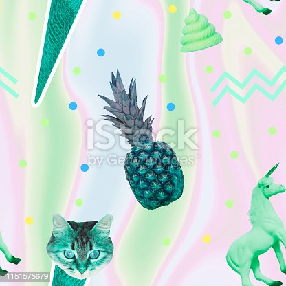 istock Pattern of ice creams, cat heads, unicorn horse and pineapple 1151575679
