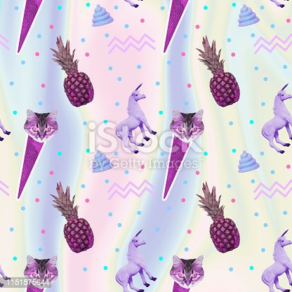 istock Pattern of ice creams, cat heads, unicorn horses and pineapples and geometry elements 1151575644